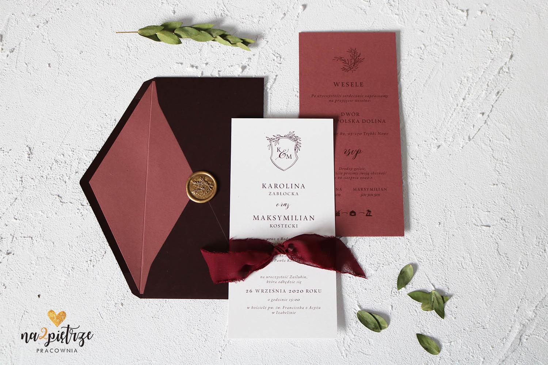 burgundy zaproszenie 2