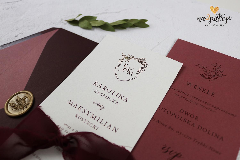 burgundy zaproszenie karta głowna