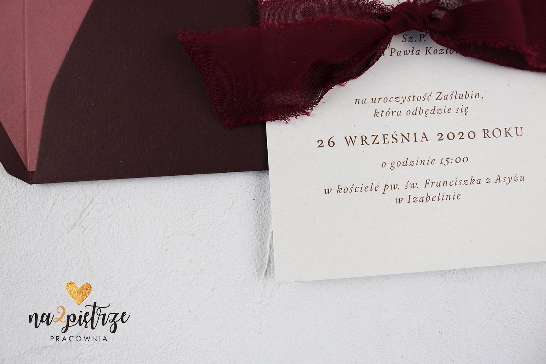 burgundy zaproszneie papier