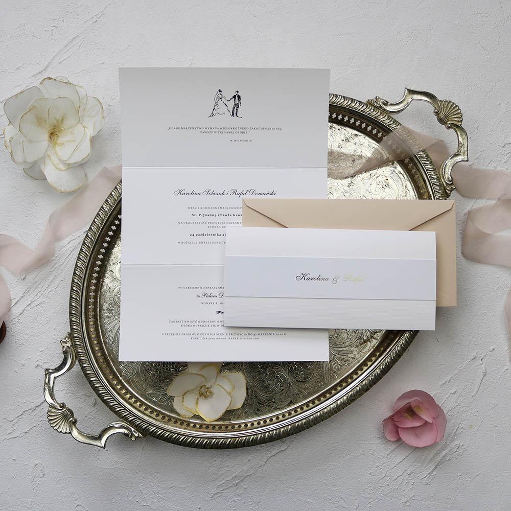 Zaproszenia ślubne z białego papieru ze złotym napisem, proste, klasyczne, eleganckie