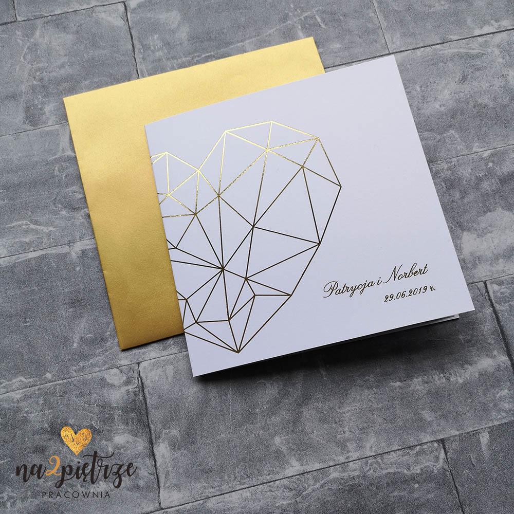 złote zaproszenia ślubne, geometryczne zaproszenia, złocone, minimalistyczne