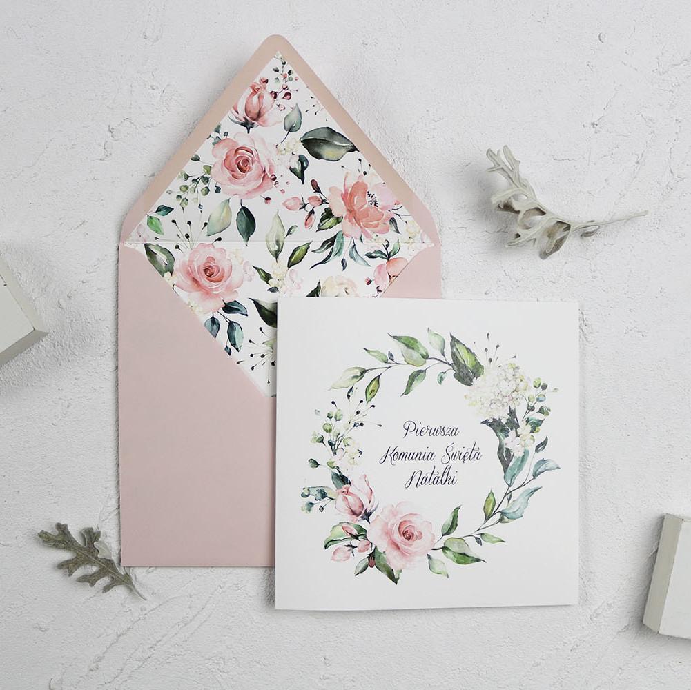 zaproszenie komunijne, kwiatowe, różowe, zdobienie w kopercie, dla dziewczynki