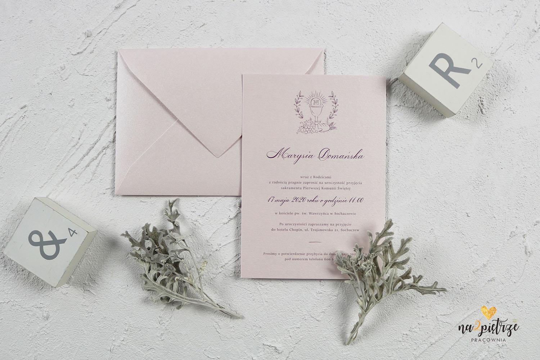 pastelowe zaproszenie komunia róż