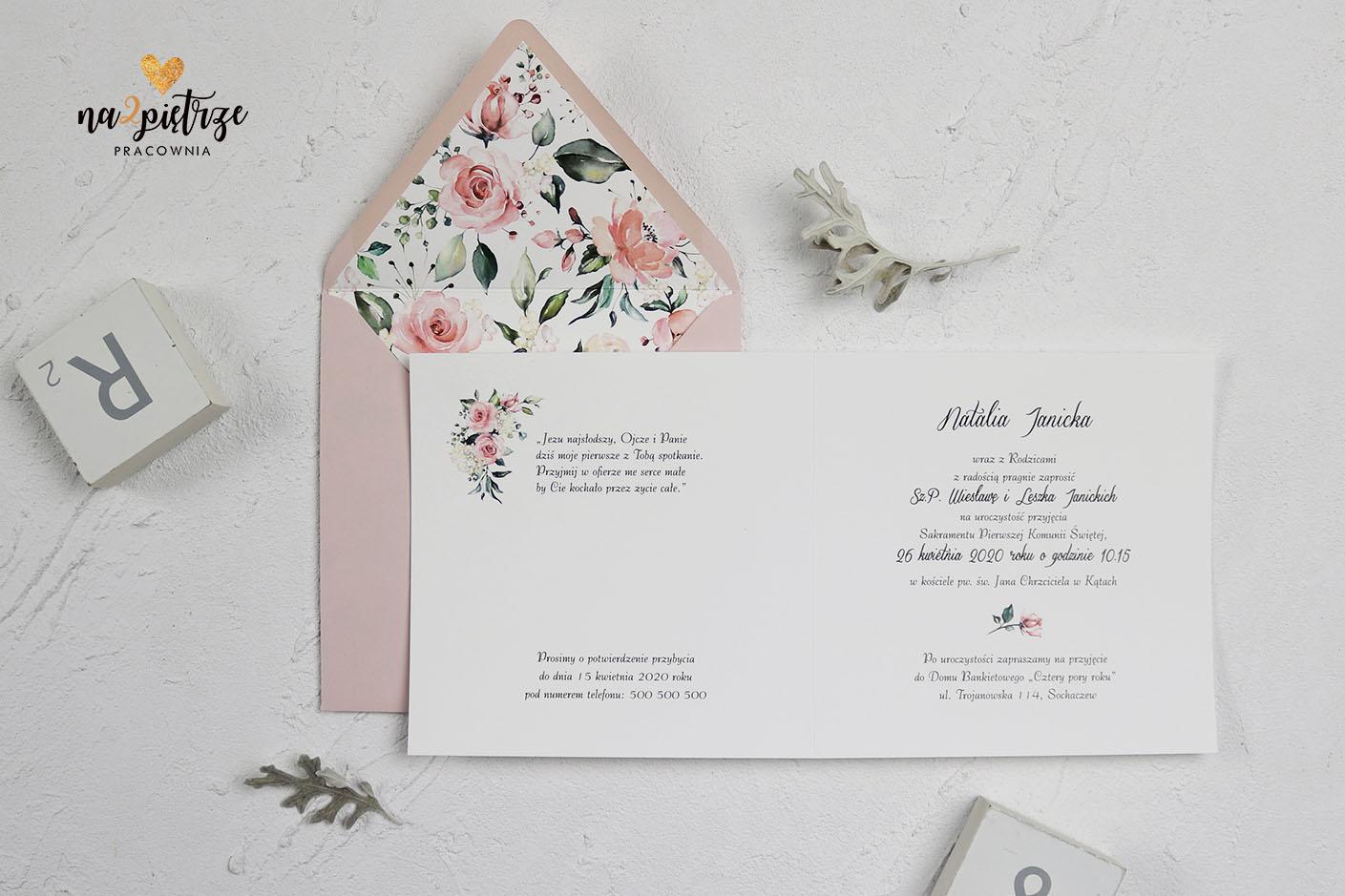 zaproszenie komunijne, kwiatowe, zdobienie w kopercie, dla dziewczynki