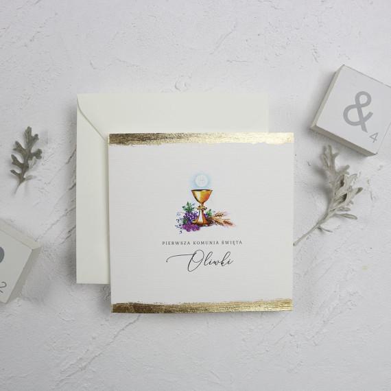 zaproszenie komunijne, z hostią, złocone, kwadratowe, eleganckie