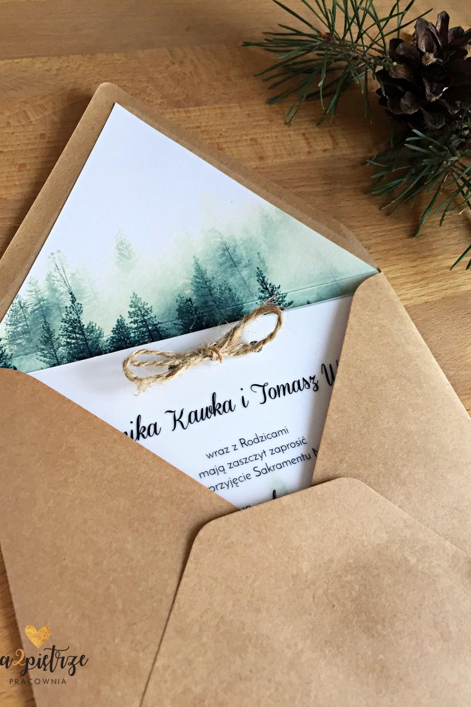 zaproszenie zimowy las koperta eko na2pietrze