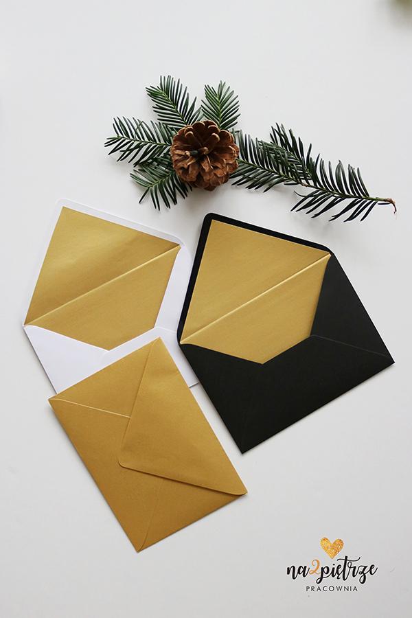złote koperty, koperty złote w środku