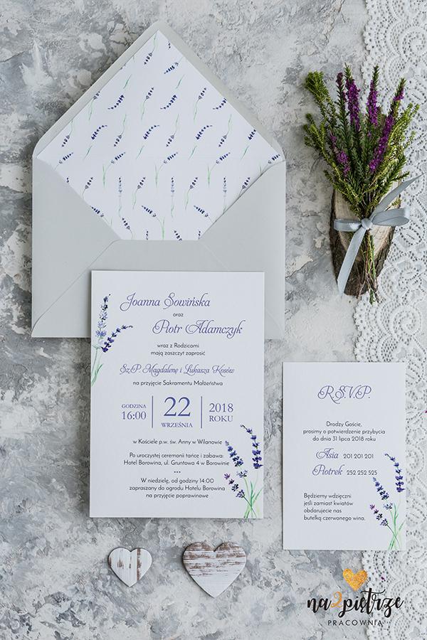 zaproszenia ślubne, wrzos, lawenda, subtelne, fioletowe, szare