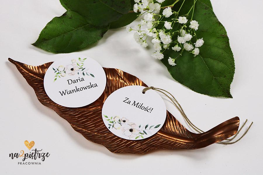 winietki okrągłe białe anemony