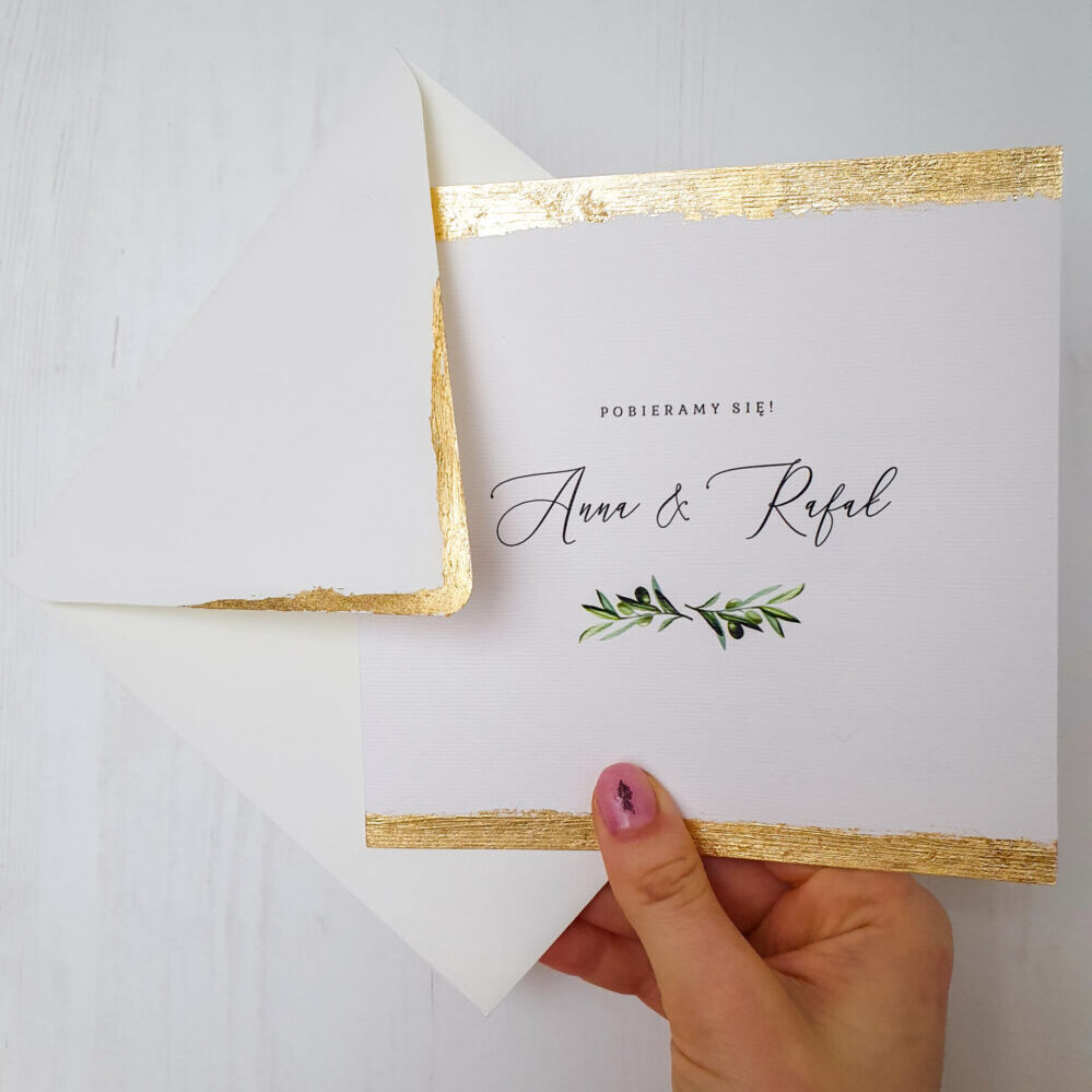 zaproszenie ślubne z ręcznie złoconymi brzegami