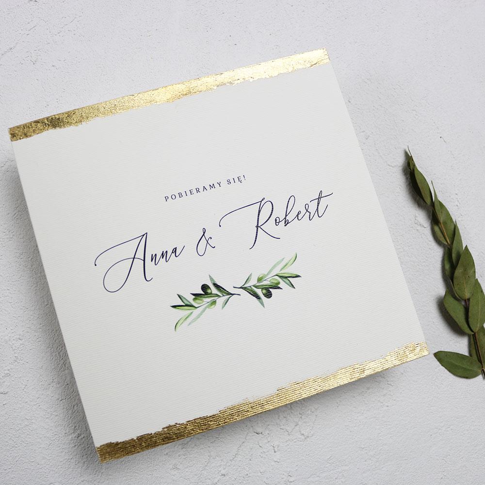 zaproszenie ślubne z motywem oliwki, ręcznie złoconymi krawędziami, glamoure