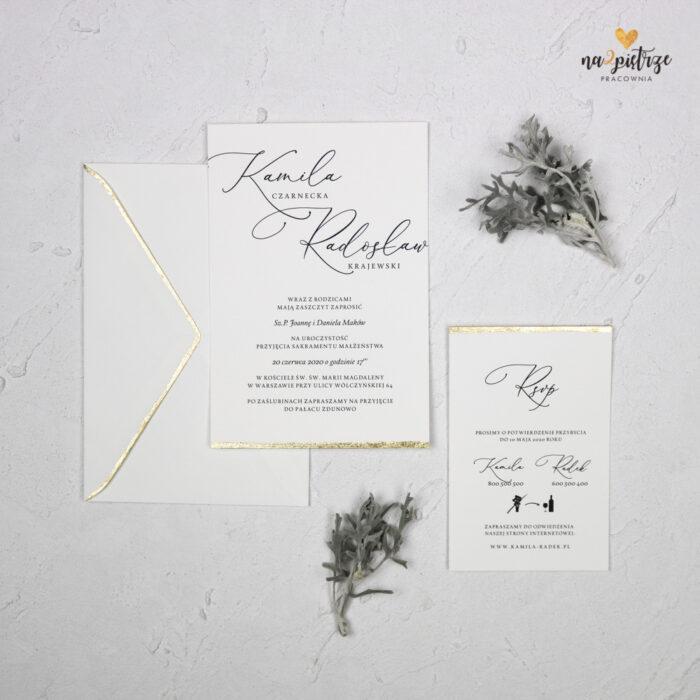 zaproszenie ślubne, jednokartkowe, ręcznie złocone, kaligrafia