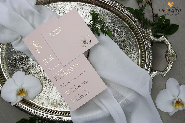 menu weselne i winietka, różowe, ze złotymi literami