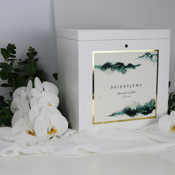 skrzynka na koperty, zieleń, złoto, biała