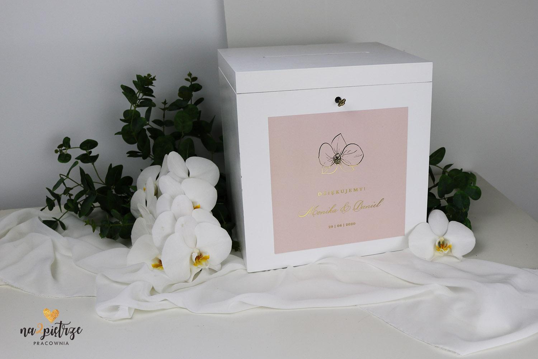 skrzynka na koperty, biała, różowa, złoty napis