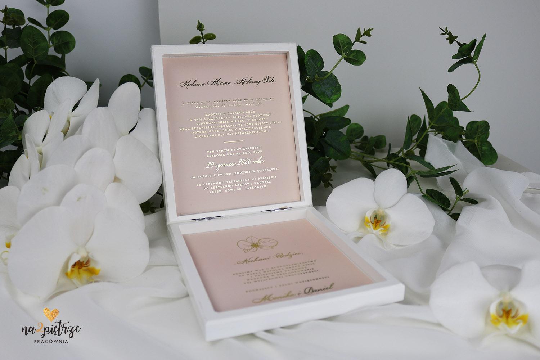 zaproszenie na ślub dla rodziców w drewnianej skrzyneczce