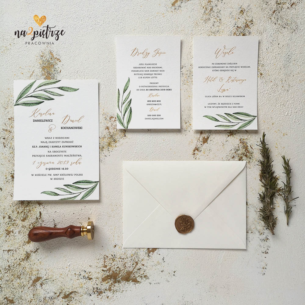 zaproszenie ślubne jednokartkowe z motywem liścia