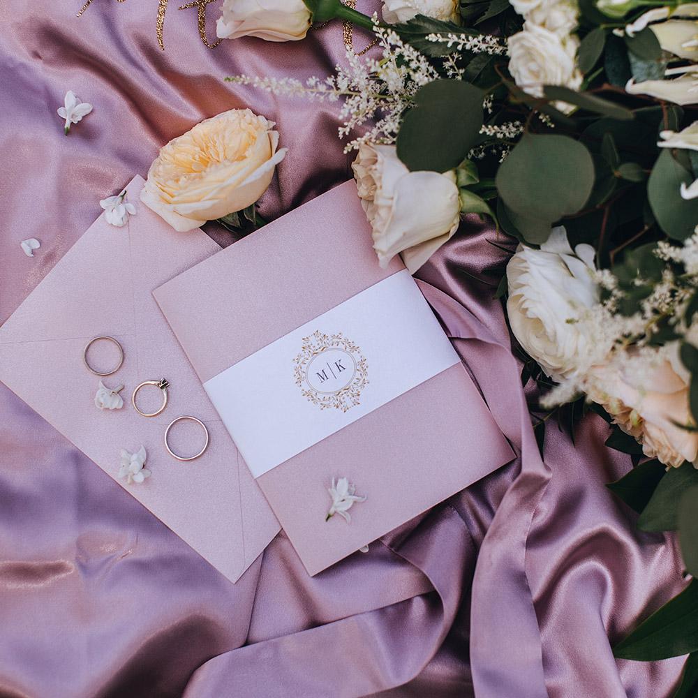 różowe zaproszenie ślubne, glamour, elegnackie