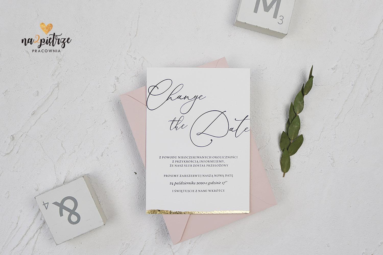 Karta z informacją o zmianie daty ślubu, kaligrafia, złocona
