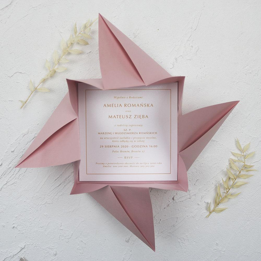 Zaproszenie ślubne, oryginalne origami, różowe