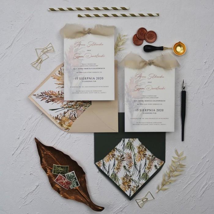 zaproszenia ślubne boho z motywem trawy pampasowej, z kalką, z szarpaną wstążką, beżowe