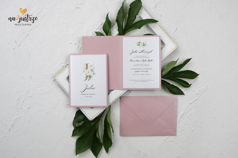 różowe zaproszenia na chrzest dla dziewczynki, eleganckie, różowa koperta