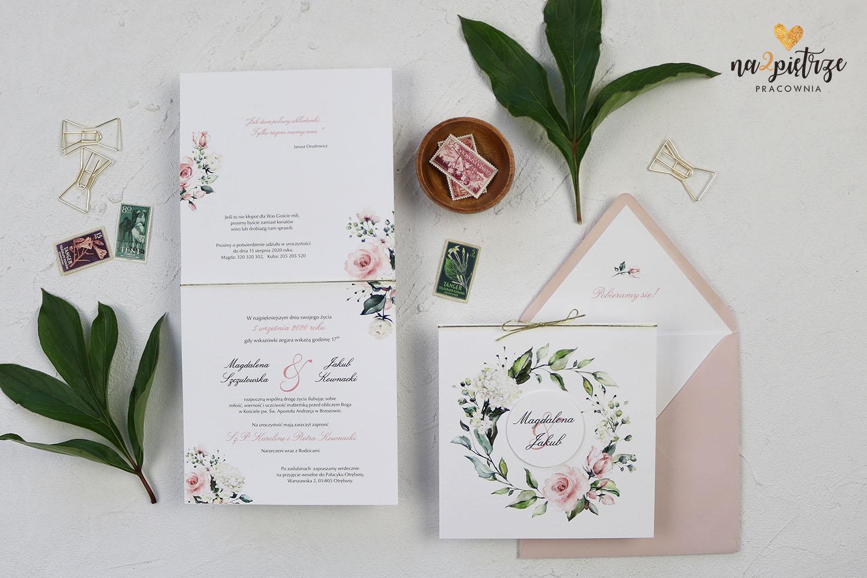 zaproszenia ślubne, kwiatowe, różowe