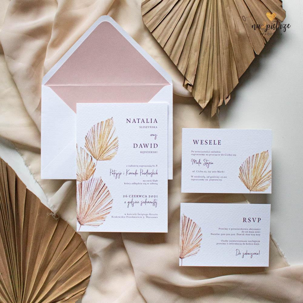 zaproszenie ślubne z motywem liści palmowych, wachlarzyków