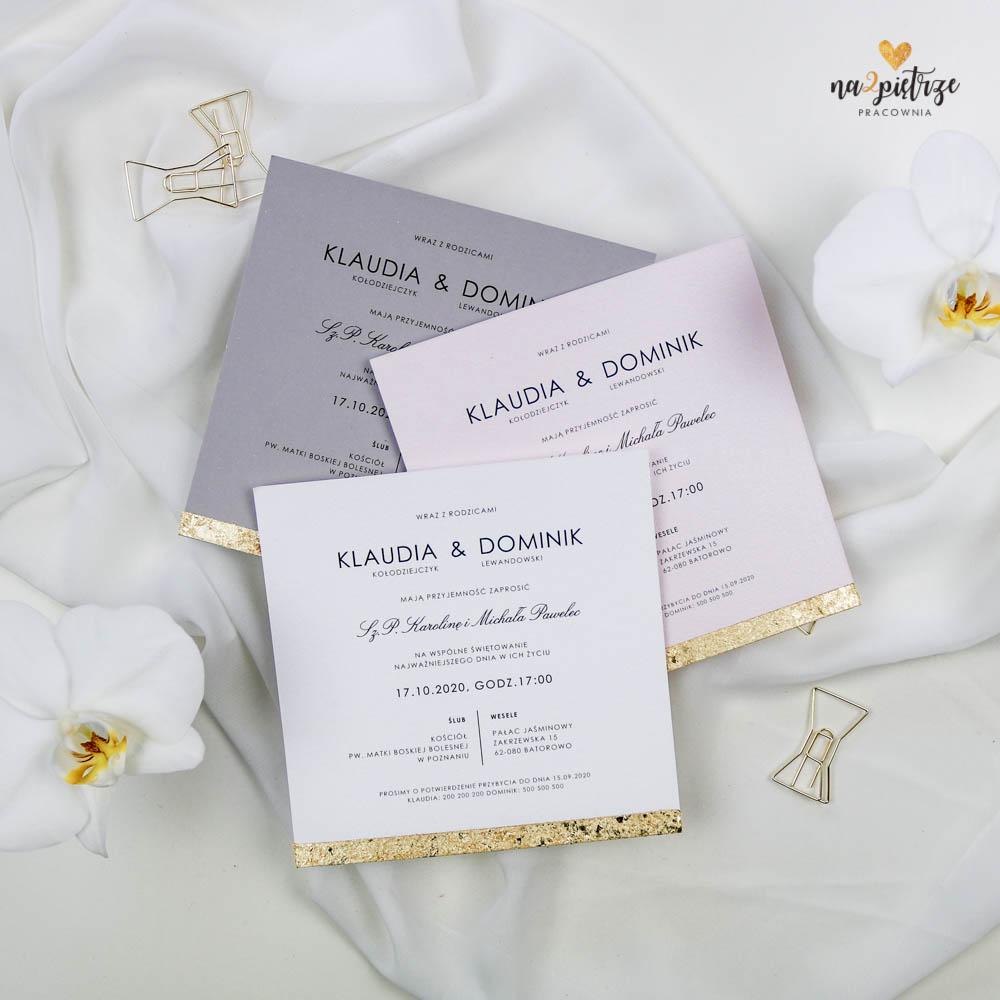 zaproszenia ślubne kolorowe ze złotą krawędzią