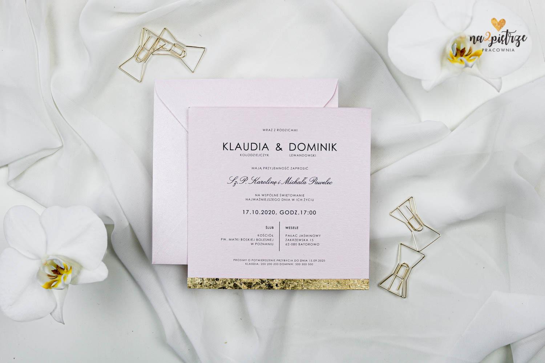 różowe zaproszenie ślubne ze złotą krawędzią, glamour