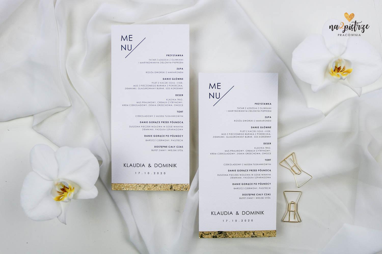 menu na talerz, jednokartkowe ze złotą krawędzią