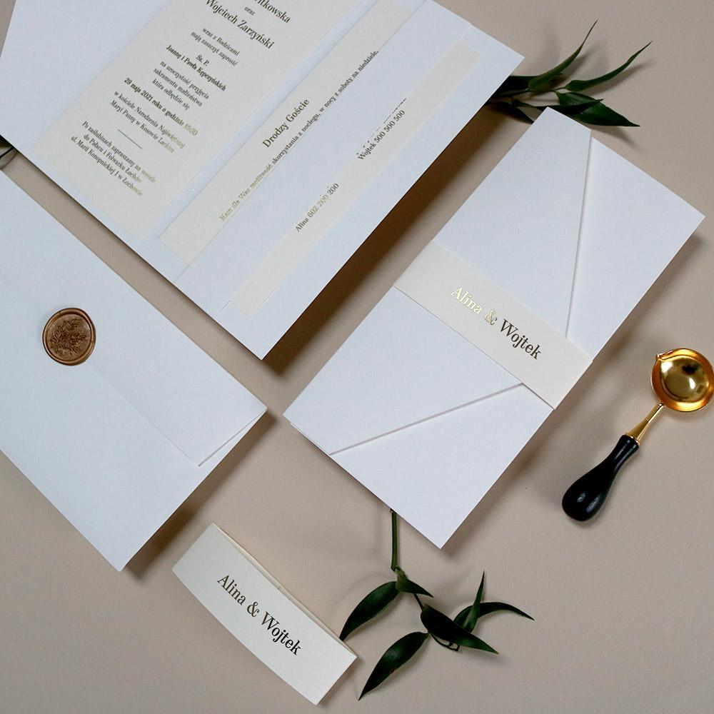 Eleganckie zaproszenie ślubne w folderze, kremowe, minimalistyczne