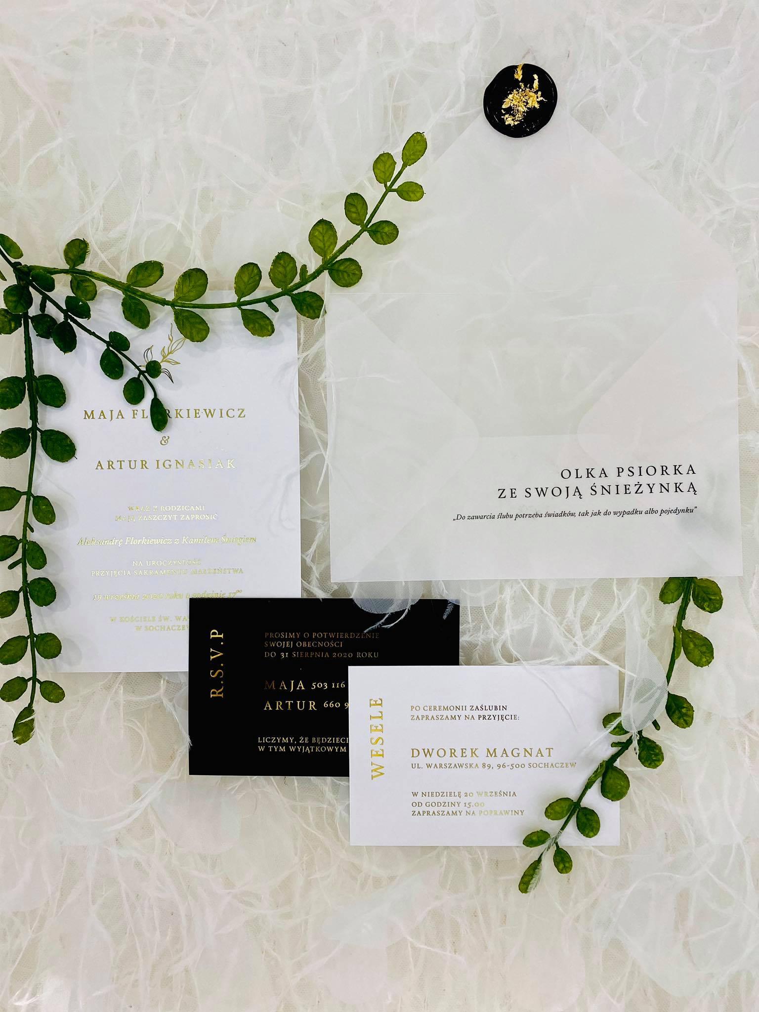 zaproszenie glamur, złote, białe, lak z drobinkami