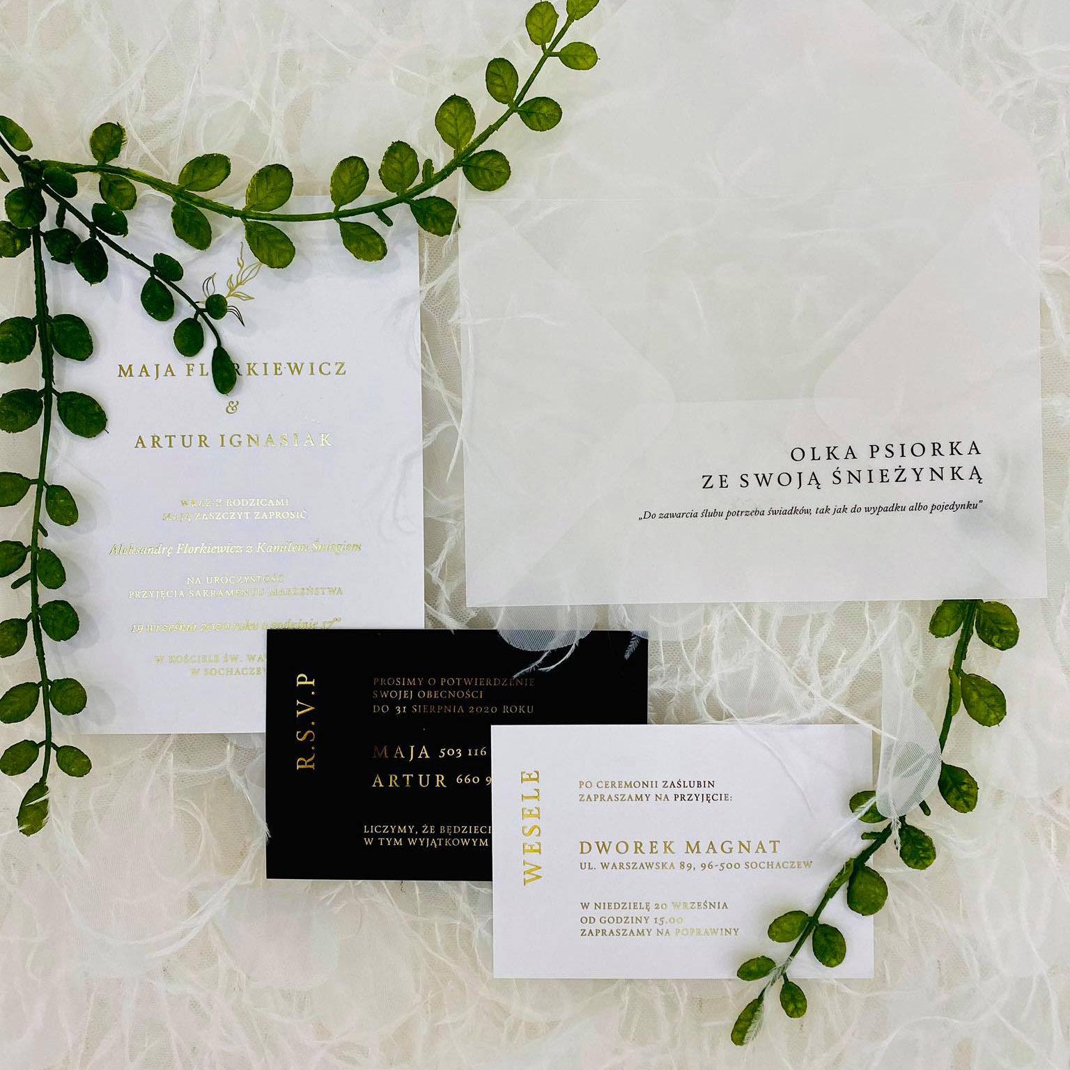glamour, zaproszenie ślubne, złote litery, transparentna koperta