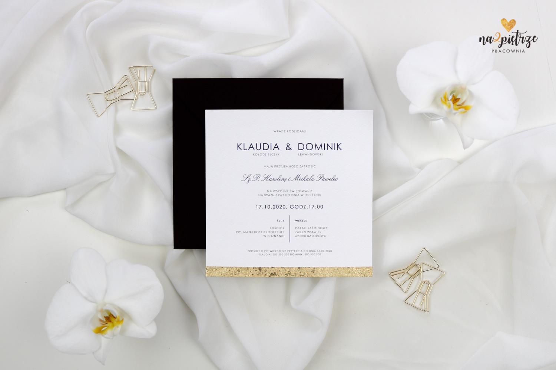 zaproszenie ślubne ze złotą krawędzią, czarna koperta