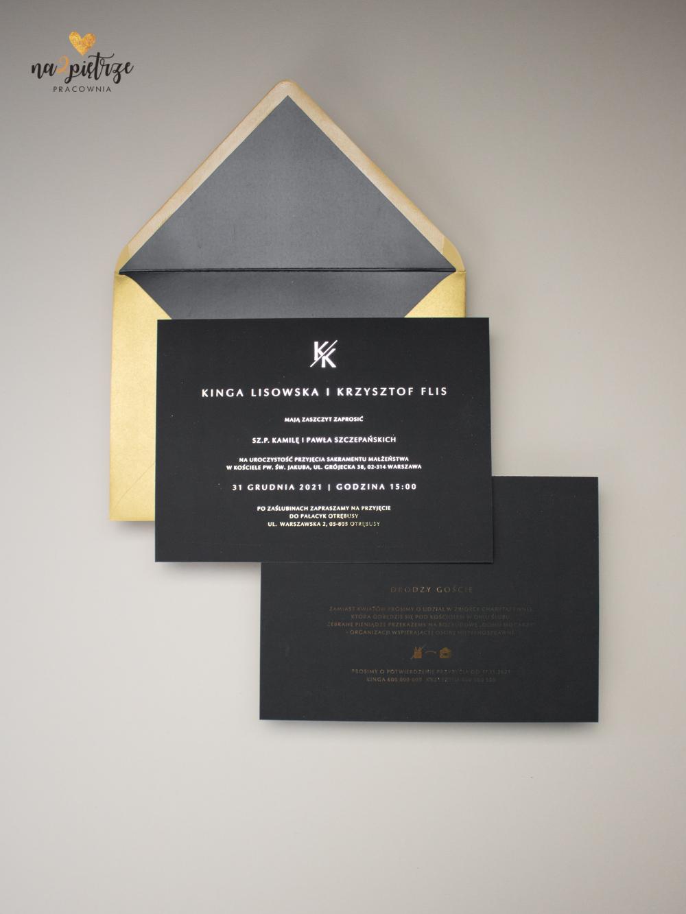 czarne zaproszenia ślubne, złote litery, glamour