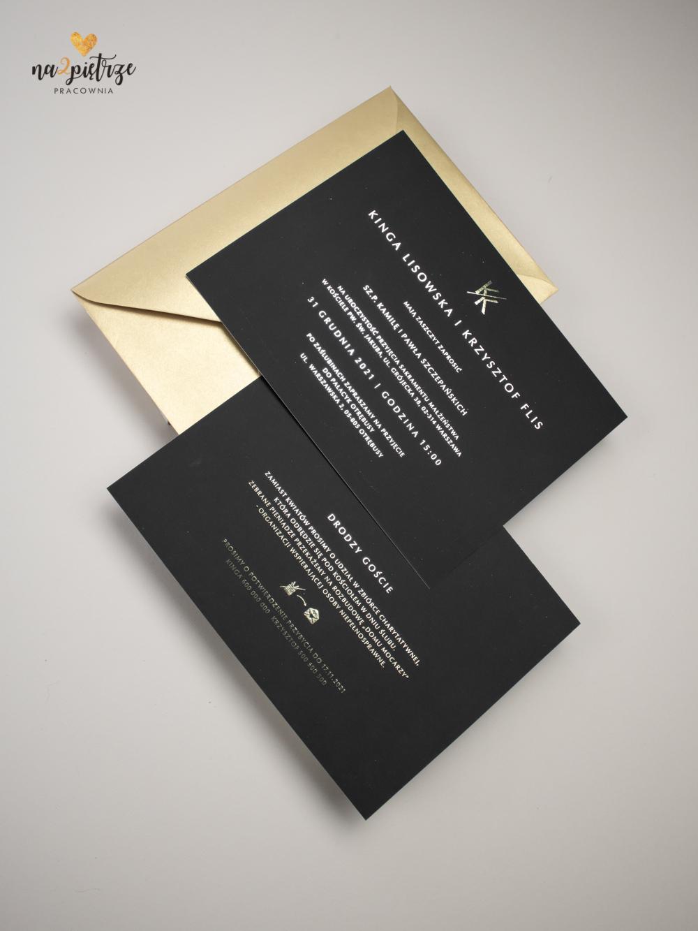zaproszenie ślubne glamour, czarne ze złotym nadrukiem