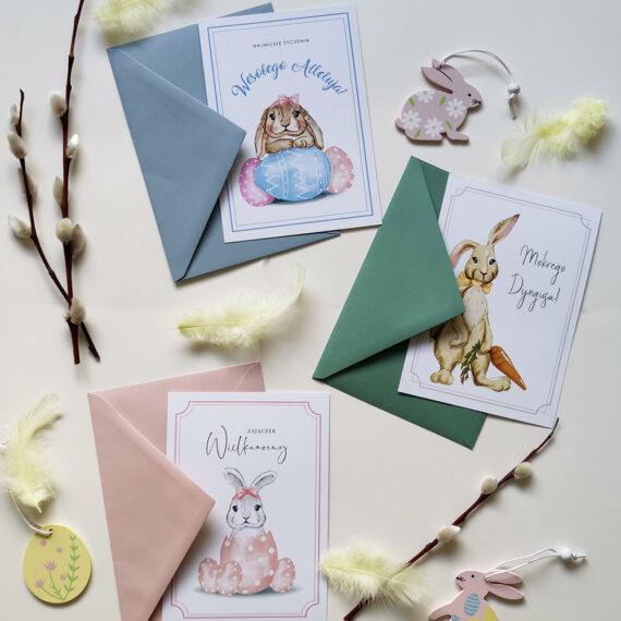 pocztówki wielkanocne z zajączkiem, różowe, zielone, niebieskie