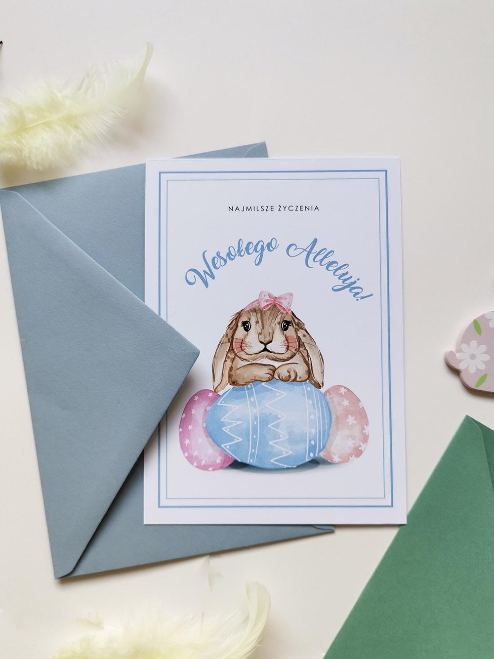 oryginalna kartka wielkanocna z zajączkiem, niebieskai urocza