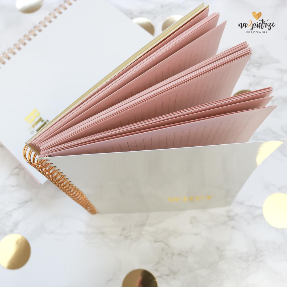notes ślubny, różowe kartki